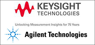 Abra Marketing's examples of extensive graphics production projects: shown are the logos for Keysight Technologies and Agilent Technologies.