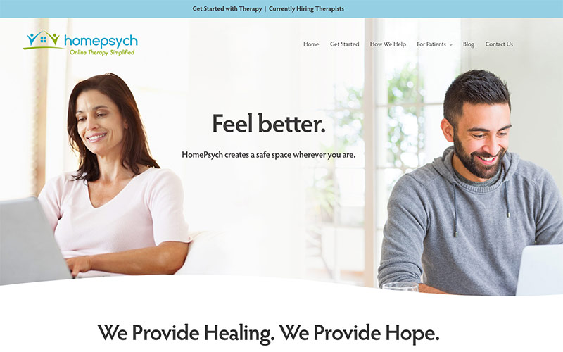 Abra healthcare marketing examples, a screenshot of the HomePsych.com website that is part of our digital healthcare marketing program for this therapy practice.