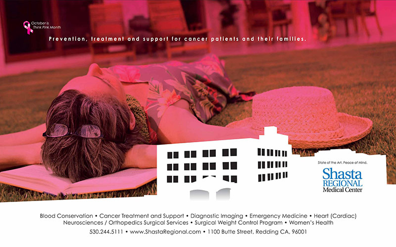 """Another one of Abra's healthcare marketing examples, Shasta Regional Medical Center breast cancer awareness print ad showing pink tinted photo of a woman lying down and the headline """"Prevention, treatment and support for cancer patients and their families."""""""
