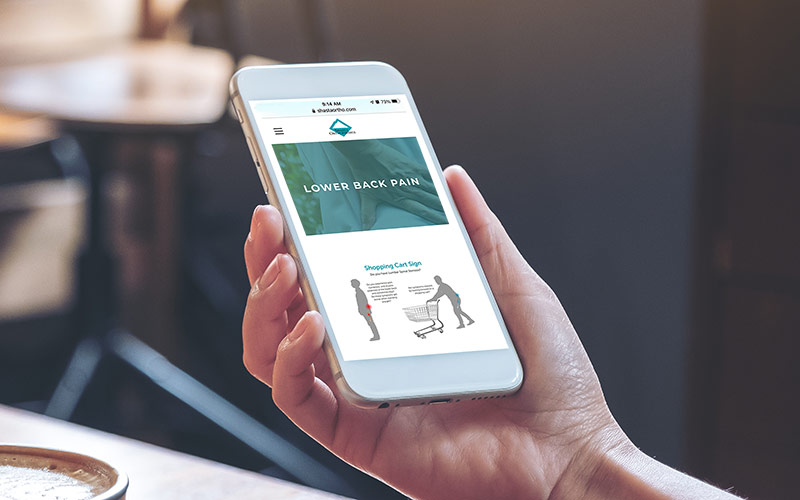 Abra healthcare marketing examples, a phone showing a sample of a digital marketing for orthopedics campaign for Shasta Orthopaedics.